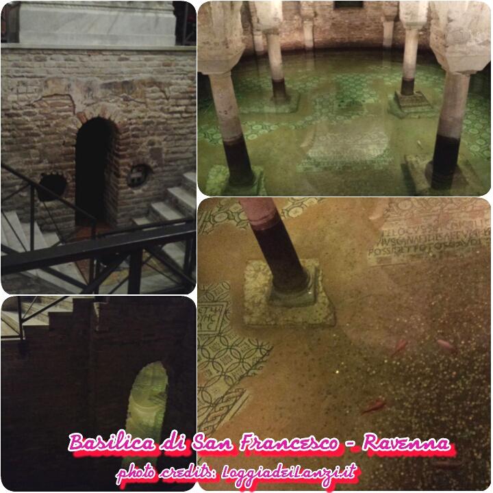 Alla Basilica di San Francesco ad ammiare l'antico pavimento a mosaico  sommerso dall'acqua dove nuotano alcuni pesci rossi