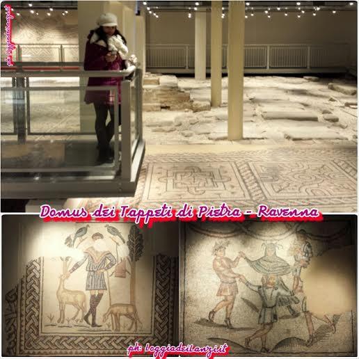 Alla Domus  dei Tappeti di Pietra. In basso a sinistra, il mosaico del Buon Pastore e accanto La Danza dei Geni delle quattro stagioni.